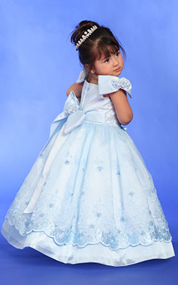 Blue flower girls dresses