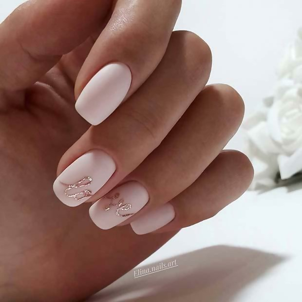 Love Nail Art Design: Matte Blush Pink with a Bit of Glitter