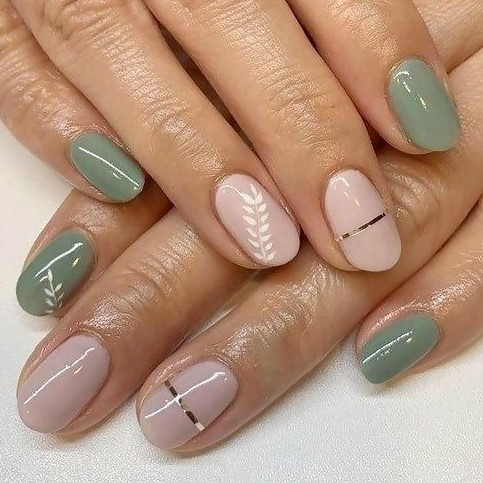 Spash of Colors Nail Art Design: Olive Green Nails Combined with Pink for an Amazing Manicure