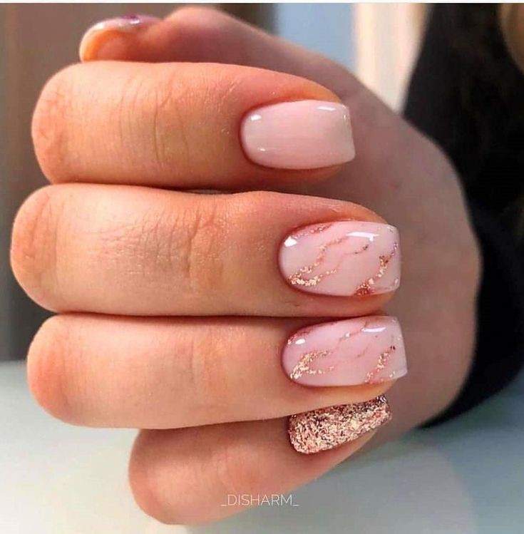 Marble Inspired Nail Art Design: Square Nails with Nude Base and Glitter Pinkish Shades