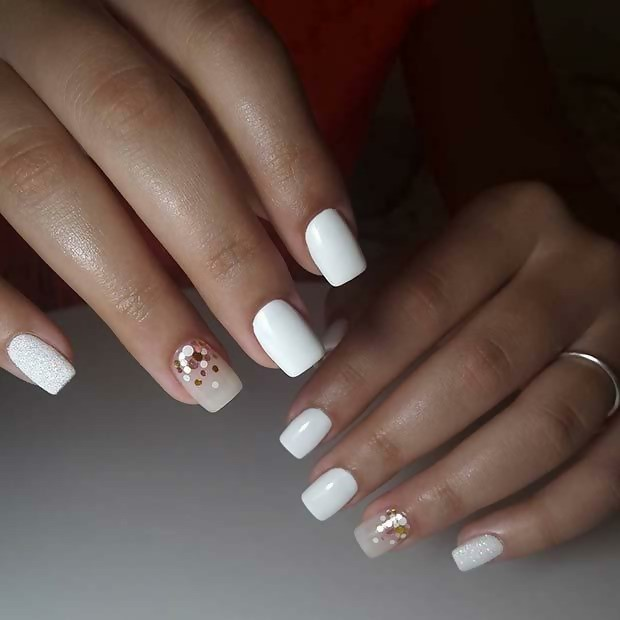 Square Shaped White Bridal Nails with a Bit of Glitters for Elegant Vibe